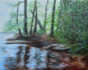 2013-16-reflecting-pool-upstream-from-wilson-falls-bracebridge-8-x-10-Acrylic on canvas Copyright-Wendie Donabie-2013