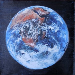 2013-17 Mother Earth - View of Africa  Acrylic on Canvas 6 x 6 Copyright Wendie Donabie 2013