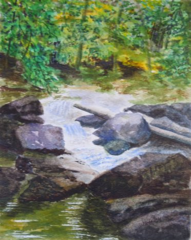 2013-20 Beaver Creekon Covered Bridge Trail, Watercolour on paper, 10 x 8 inches Copyright Wendie Donabie 2013