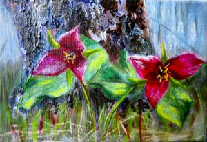 2013-27 Trillium Twosome, Acrylic on Canvas, 5 x7 inches, Copyright Wendie Donabie 2013