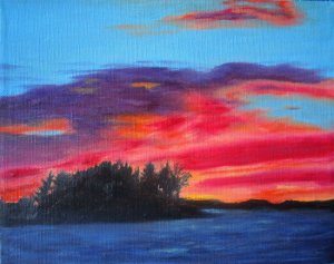 Sunset at Taboo Resort  Oil on Canvas, Copyright Wendie Donabie 2013