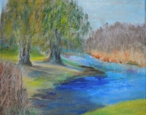 Willows by the River, oil on canvas, Copyright Wendie Donabie 2013