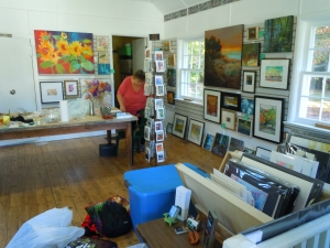 Setting up the hall for the art show and sale