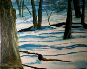 Woods in Winte,r Acrylic Ink  on Canvas 8x10 - copyright Wendie Donabie 2012