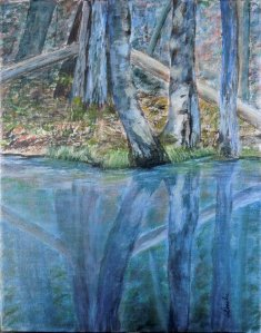 Spring Reflection #1, 14 x 11, Acrylic on Canvas, Copyright Wendie Donabie 2013