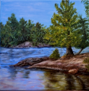 Pine Point, Acrylic on Canvas, 12 x 12 ins Copyright Wendie Donabie 2013
