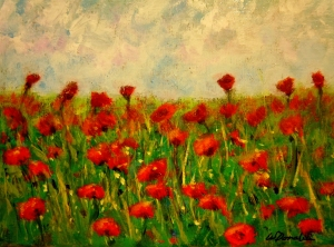 2013-37 Field of Poppies #1, Acrylic on Canvas, 5 x7, Copyright Wendie Donabie 2013