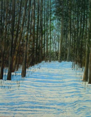 2013-40  Memories of Walks in Winter Woods, Acrylic on Canvas, 30 x 24 ins Copyright Wendie Donabie 2013