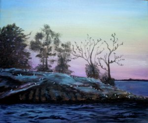 2013-25 Bird Island, Lake Muskoka, Acrylic on Canvas, 10 x 12, Copyright Wendie Donabie 2013