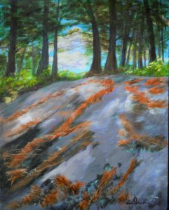 2013-29  Muskoka Rocks & Pine Needles #2, Acrylic on Canvas, 14 x 11, copyright Wendie Donabie 2013