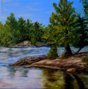 2013-34 Pine Point, Acrylic on Canvas, 12 x 12 ins Copyright Wendie Donabie 2013 -