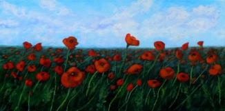 2013-36 Field of Remembrance, Acrylic on Canvas, 12 x 24 Copyright Wendie Donabie