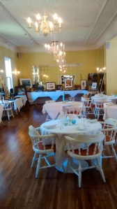 Our art display in the dining room at the Inn