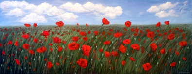 Alicia's Poppy Field, Acrylic on Canvas, 24 x 60 inches, Copyright Wendie Donabie 2014