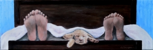 2015-1 Puppy Love - The Only Love That Comes Between Us, 12 x 24 inches, Acrylic on Canvas, Copyright Wendie Donabie
