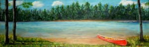 2015-2 The Red Canoe, Acrylic on Canvas, 12 x 24 inches, Copyright Wendie Donabie
