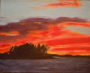 3654 - Muskoka Beach Sunset, 8 x 10, OIl on Canvas, Copyright Wendie Donabie