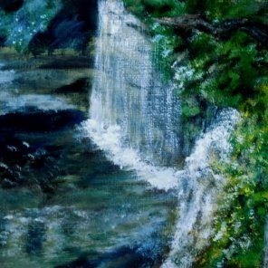 2014-18 Hidden Falls, Acrylic on Canvas, 5 x 7 inches, Copyright Wendie Donabie