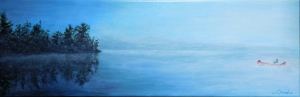 3683 - Paddling at Dawn #2, Acrylic on Canvas, 8 x 24, Copyright Wendie Donabie
