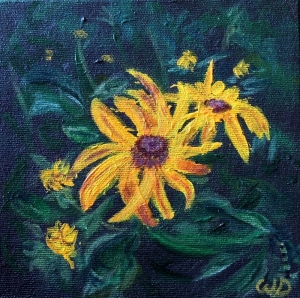 3684 - Black-Eyed Susan #1, Acrylic on Canvas, 6 x 6 inches, Copyright Wendie Donabie