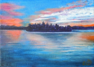 Muskoka Sunset #2, Acrylic on Canvas, 5 x 7 inches, Copyright Wendie Donabie