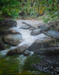 Beaver Creek on Covered Bridge Trail, Bracebridge, Acrylic on Canvas, 10 x 8 inches, Copyright Wendie Donabie