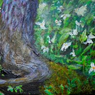 Trillium Fantasy #2, Acrylic on Canvas, 5 x 7 inches, Framed, Copyright Wendie Donabie