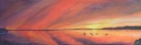 3697 - Muskoka Sunset #5 - Mallard Ducks at Sunset, Acrylic on Canvas, 8 x 24 inches, Copyright Wendie Donabie