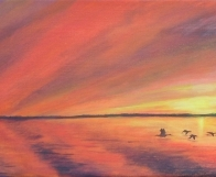 3697 - Muskoka Sunset #5 - Mallard Ducks at Sunset, Acrylic on Canvas, 8 x 24 inches, Copyright Wendie Donabie