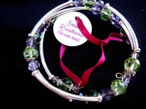 Crystal Memory Wire Bracelet #4