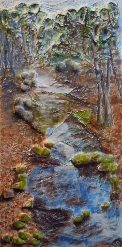 3712 Rock, Paper, Scissors. Collaboration - It's a Draw, Mixed Media, 12 x 24 inches, Copyright Wendie Donabie