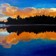 3711 - Muskoka Sunset 38, Oil on Canvas, 16 x 20 inches, Copyright Wendie Donabie