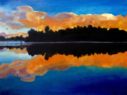 3711 - Muskoka Sunset #8, Oil on Canvas,16  x 12 inches, Copyright Wendie Donabie