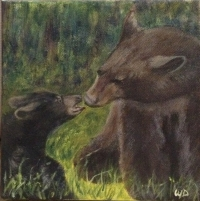 Hones, That's Really What Happened!, Acrylic on Canvas, 6 x 6 inches, Copyright Wendie Donabie SOLD