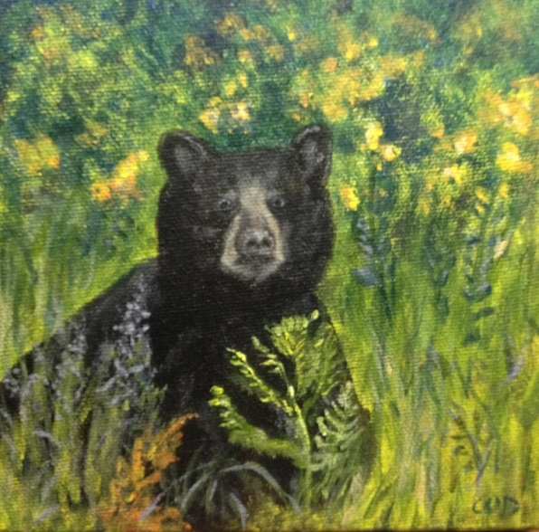 Don't Mess with Me, Acrylic on Canvas, 6 x 6 inches, Copyright Wendie Donabie SOLD