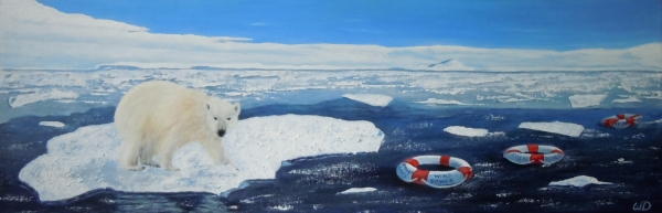 3714 - On Thin Ice - What are you doing, Acrylic on Canvas, 12 x 36 inches, Copyright Wendie Donabie
