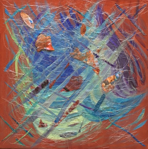 3738 - Weaver of the Universe, Acrylic and Mixed Media on Canvas, 16 x 16 inches, Copyright Wendie Donabie