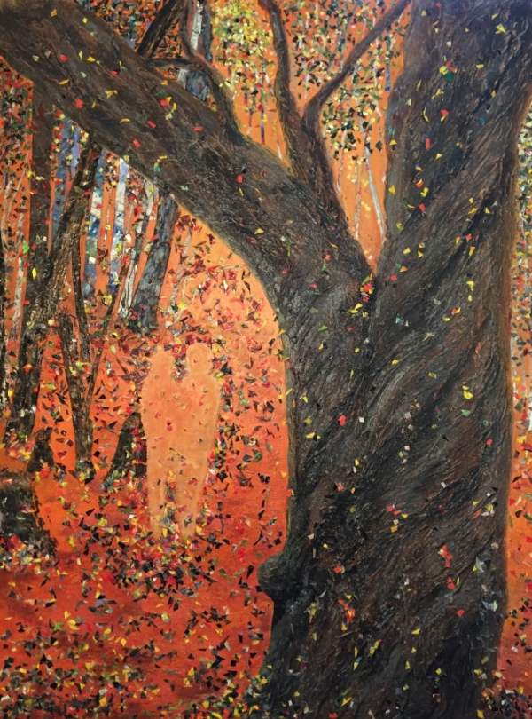 3750 - Autumn Apparition, Acrylic Paint & Skins, 40 x 30 inches, Copyright Wendie Donabie