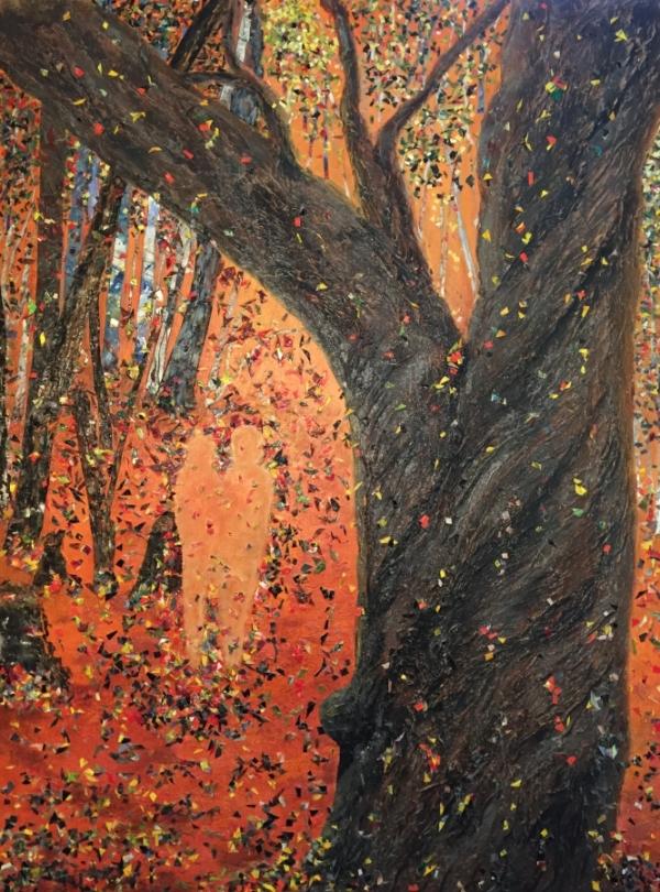 3750 - Autumn Apparition, Acrylic Paint & Skins, 40 x 30 inches, Copyright Wendie Donabie