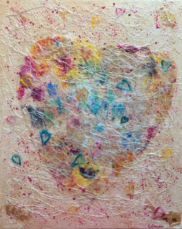 3753 - Heart Strings, Acrylic Paint, Skins & Mixed Media, 20 x 16 inches, Copyright Wendie Donabie