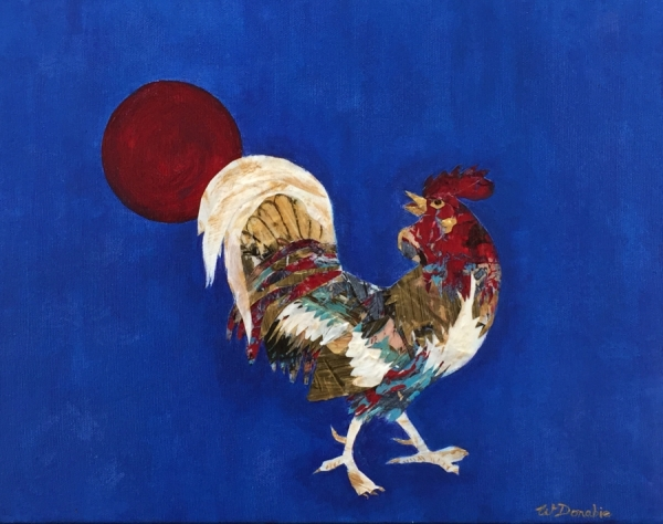 3756 - Fire Rooster, Acrylic paint and Acrylic Skins, 11 x 14 inches, Copyright Wendie Donabie