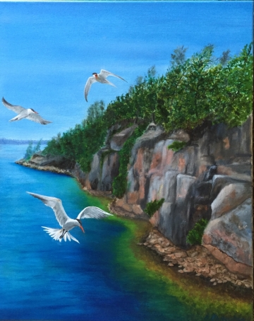 3761 - Soaring Over Georgian Bay, Oil on Canvas, 20 x 16 inches, Copyright Wendie Donabie
