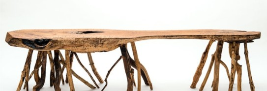 Cherry wood table with beech and ironwood legs