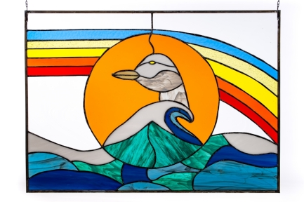 "Native Rainbow, Stained Glass and Lead, 28"" x 21"", Copyright Maureen Haines"