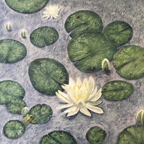 Meditation - Waterlilies on Cache Lake, Algonquin Park, Acrylic and Tissue paper on canvas, 24 x 24 inches, Copyright Wendie Donabie