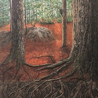 Forest Commune, Acrylic and acrylic medium on canvas, 40 x 30 inches, Copyright Wendie Donabie