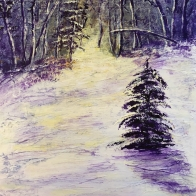 3775 - Winter Solstice Sunrise, Acrylic on Canvas, 10 x 8 inches, Copyright Wendie Donabie