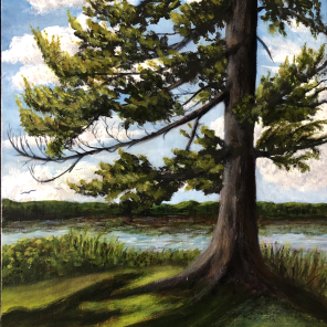 3783 - River Guardian, Acrylic on Canvas Panel, 16 x 12 inches, Copyright Wendie Donabie